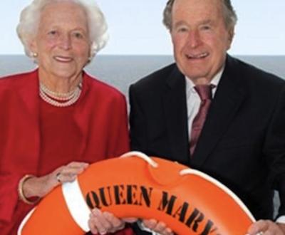 President and Mrs. George H. W. Bush cross the Atlantic