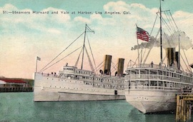 The LOS ANGELES STEAMSHIP COMPANY… USC rooters heading north for Stanford game on the SS YALE!