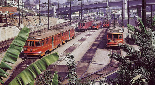 "Downtown Los Angeles to Beverly Hills – via Hollywood and West Hollywood – aboard Pacific Electric's big ""Red Cars"" during the 1950s…"