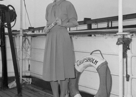 Actress Greta Garbo Posing on Ship Deck