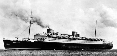 TBT: The SS Bremen Cruising to Bermuda in 1938 flying the Nazi flag