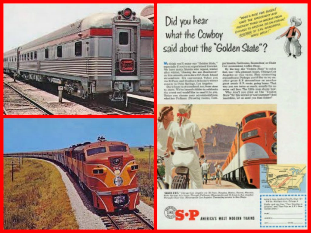 pullman, santa fe railroad, streamliners, sunset ltd, golden state, palm springs, 1950sm , southern pacific railroad, city of los Angeles, super chief