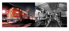 """Psycho"" Star Janet Leigh aboard the world famous Santa Fe streamliner SUPER CHIEF…"