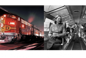 """""""Psycho"""" Star Janet Leigh aboard the world famous Santa Fe streamliner SUPER CHIEF…"""
