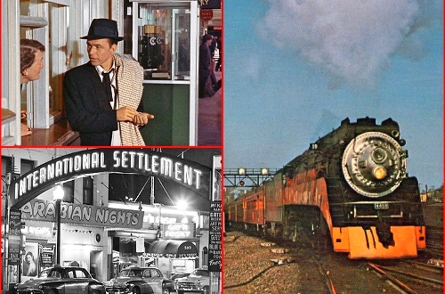 FRANK SINATRA starring in PAL JOEY heads to San Francisco on a Southern Pacific train and ferry boat…