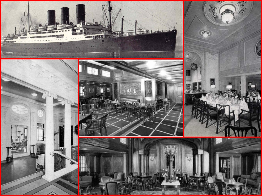 Cunard, RMS Aquitania, Anchor Line, SS Transylvania, SS Caledonia, M. V. Georgic, SS President Johnson, RMS Monarch of Bermuda, RMS Queen of Bermuda, French Line, SS Paris, cruising the past, cruise history, cruise lines, michael l grace, augustus grace