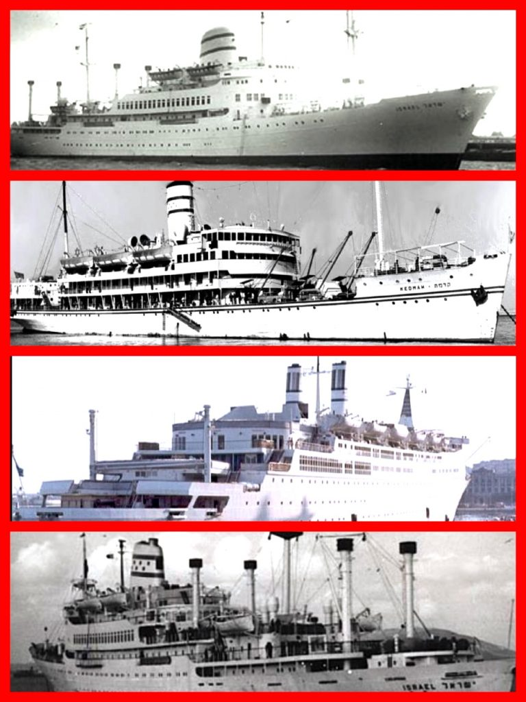 ZIM LINES, Michael l grace, cruise line history, cruising the past, ss Jerusalem, M.S. Theodor Herzl, SS Zion, SS Israel, SS Shalom