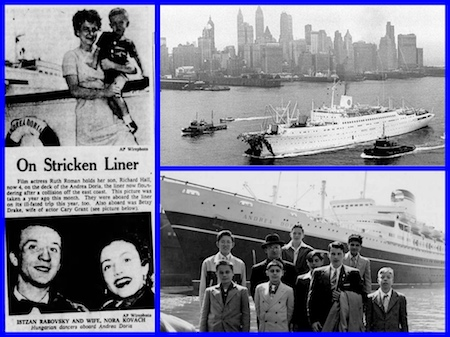 SS Andrea Doria, Ruth Roman,Betsy Drake, Cary Grant, Nantucket, MS Stockholm, SS Ile de France, Tennessee Williams, Anna Magnani, Elizabeth Taylor, Kim Novak, Christine Jorgensen (the world's first transsexual woman), Clark Gable, and comedian Gracie Fields.