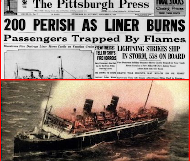 Ward Line's SS Morro Castle Cruise to Havana – Fire at Sea – 200 Die