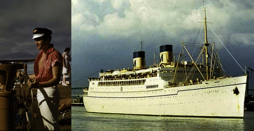 ELVIS PRESLEY sails on the SS MATSONIA to HAWAII in 1957