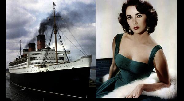 Cunard Line star ELIZABETH TAYLOR sailed aboard the RMS Queen Mary, RMS Queen Elizabeth and the QE2.